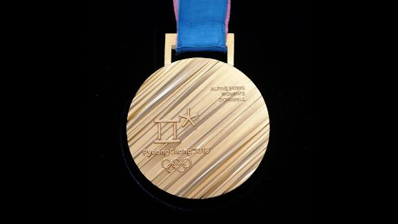 This is the back of the gold medal that will be awarded at the 2018 Winter Olympics in PyeongChang.