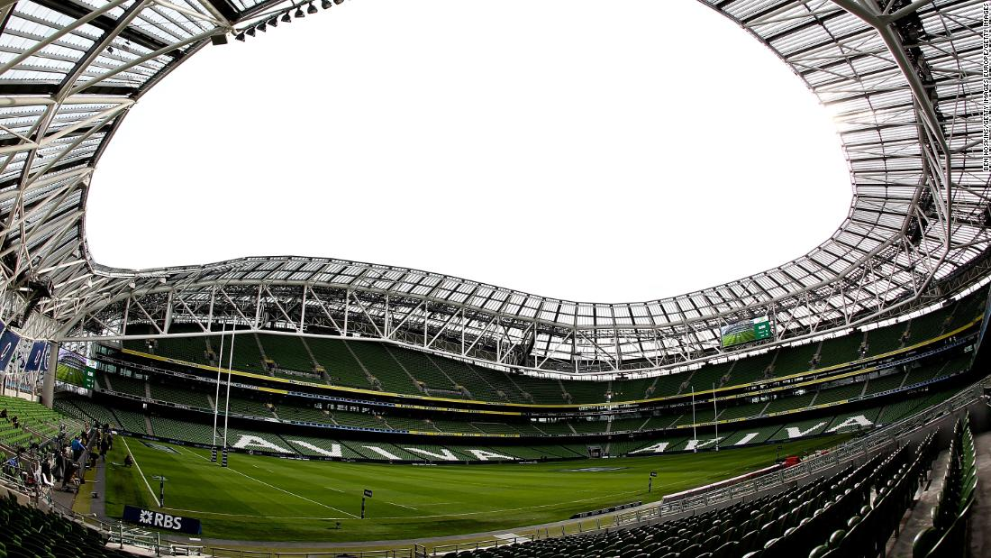 The distinctive, curved roof of the Aviva Stadium in Dublin will play host to Irish encounters with Italy, Wales and Scotland.