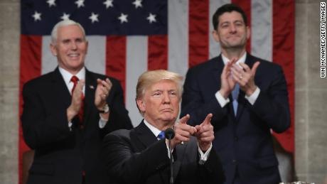 WASHINGTON, DC - JANUARY 30:  U.S. President Donald J. Trump delivers the State of the Union address as U.S. Vice President Mike Pence (L) and Speaker of the House U.S. Rep. Paul Ryan (R-WI) (R) look on in the chamber of the U.S. House of Representatives January 30, 2018 in Washington, DC. This is the first State of the Union address given by U.S. President Donald Trump and his second joint-session address to Congress.  (Photo by Win McNamee/Getty Images)