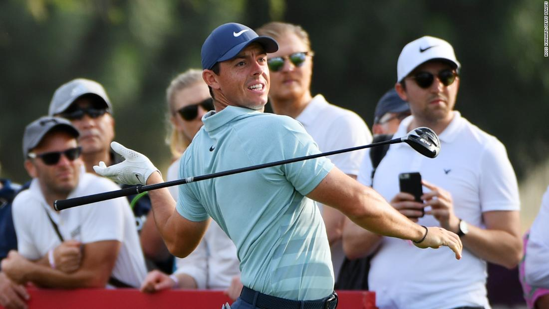 <strong>Look, no hands:</strong> McIlroy blew a two-shot lead to finish one behind China's Li Haotong in Dubai.