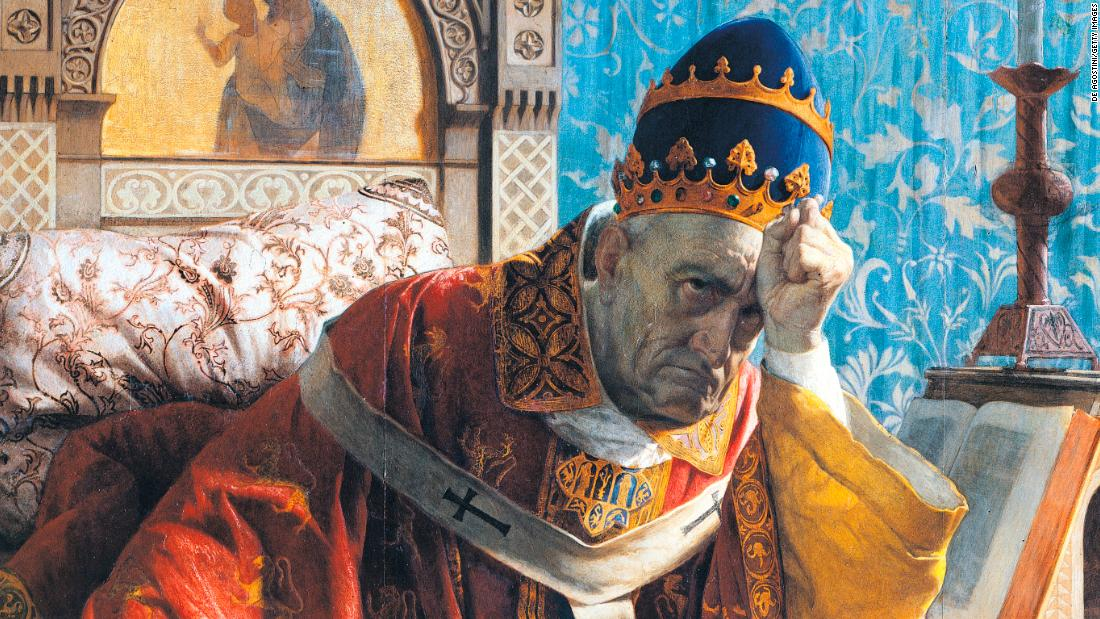 UNSPECIFIED - DECEMBER 16: Boniface VIII (Anagni, ca 1230-Rome, 1303), encaustic painting on panel by Andrea Gastaldi (1826-1889), 1875, detail. Rome, Galleria Nazionale D'Arte Moderna (National Gallery Of Modern Art) (Photo by DeAgostini/Getty Images)