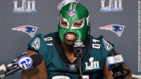 Eagles defensive tackle Fletcher Cox says he's keeping the lucha libre mask given to him by a Mexican reporter for a photo op.