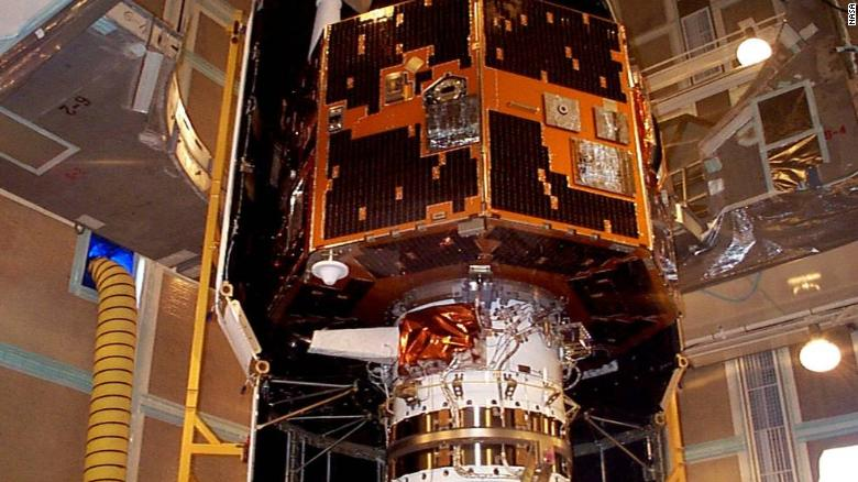 The IMAGE spacecraft undergoing launch preparations in early 2000.