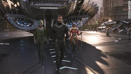 "Lupita Nyong'o, Chadwick Boseman and Danai Gurira star in the Marvel film  ""Black Panther."""