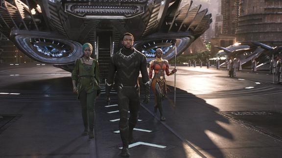 """Lupita Nyong'o, Chadwick Boseman and Danai Gurira in """"Black Panther."""""""