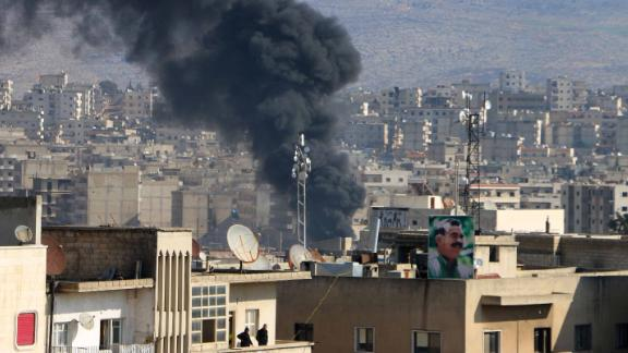 Smoke is seen billowing from Afrin on January 31, 2018.