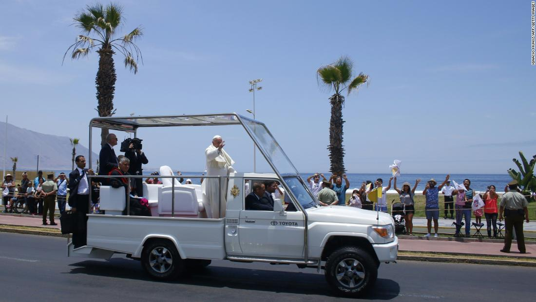 "During his January 2018 visit to the city of Iquique, Chile, Pope Francis waves from the back of a modified Toyota popemobile. Take a look at how the Pope's wheels have evolved over the years.<br /><br /><em>To learn more about the history of the papacy, watch the new CNN Original Series, <em></em><a href=""https://www.cnn.com/shows/pope"">""Pope: The Most Powerful Man in History,""</em></a><em> Sundays at 10 p.m. ET/PT.</em>"