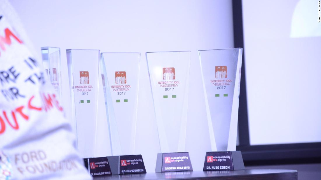 The winners trophies. The nominees took part in front of an audience of dignitaries, civic activists and donors.