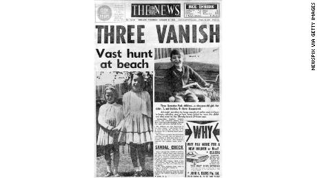 "Front page of The News newpaper, January 27, 1966, ""Three vanish: Vast hunt at beach."""