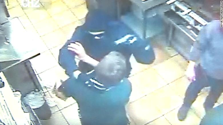 Pizza shop staff stunned after catching robber