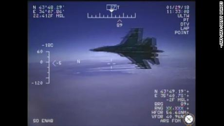 "A Russian Su-27 jet is seen in a screenshot from a US Navy video handout flying close to a US reconnaissance plane over the Black Sea on January 29, 2018.  A Russian fighter jet flew perilously close to a US Navy reconnaissance plane over the Black Sea on Monday, officials said, a maneuver the Navy denounced as ""unsafe."" The incident unfolded while the US EP-3 Aries spy plane was on a mission in international airspace. It was intercepted by a Russian Su-27, which flanked the US aircraft for a total of two hours and 40 minutes, the Navy said in a statement.    / AFP PHOTO / - / RESTRICTED TO EDITORIAL USE - MANDATORY CREDIT ""AFP PHOTO / "" - NO MARKETING NO ADVERTISING CAMPAIGNS - DISTRIBUTED AS A SERVICE TO CLIENTS / < HANDOUT >  / XGTY / RESTRICTED TO EDITORIAL USE - MANDATORY CREDIT ""US Navy Handout "" - NO MARKETING NO ADVERTISING CAMPAIGNS - DISTRIBUTED AS A SERVICE TO CLIENTS-/AFP/Getty Images"