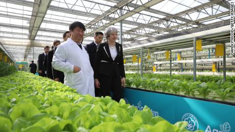 British Prime Minister Theresa May visits 'AgriGarden' greenhouses and Research and development centre on February 1, 2018 in Beijing, China.