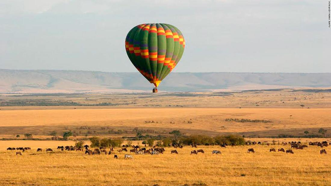 <strong>A balloon with a view in Kenya:</strong> This hot air balloon safari from Hotel Olare Mara Kempinski Masai Mara allows guests to witness the theater of wildlife over the magnificent Masai Mara national reserve from above.