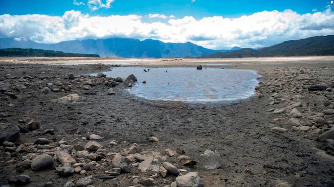 Cape Town's main water supply, from the Theewaterskloof dam outside Grabouw, is seen drying up on January 23.
