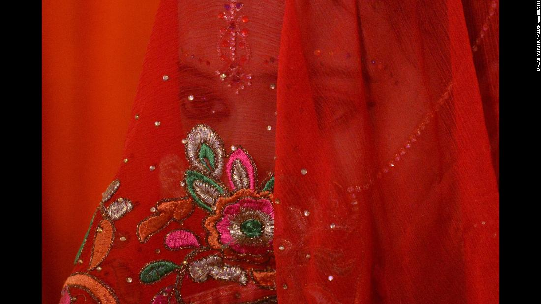 A Hindu bride poses at a mass wedding ceremony in Karachi, Pakistan, on Sunday, January 28.