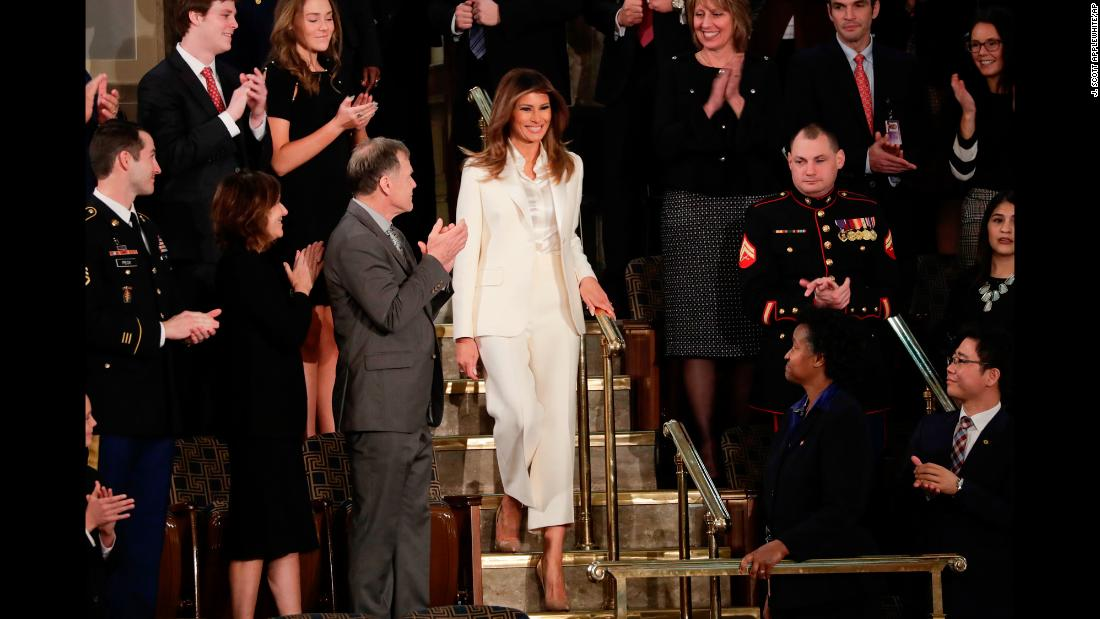First lady Melania Trump arrives before the State of the Union address on Tuesday, January 30.