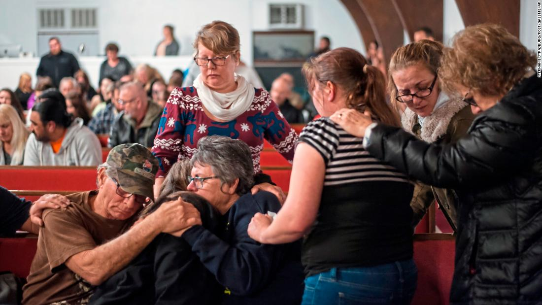 "People comfort one another during a prayer vigil in Melcroft, Pennsylvania, on Monday, January 29. Four people <a href=""https://www.cnn.com/2018/01/29/us/pennsylvania-car-wash-shooting/index.html"" target=""_blank"">were fatally shot </a>the day before at a Melcroft car wash. The suspected gunman died on Tuesday from a self-inflicted gunshot wound."