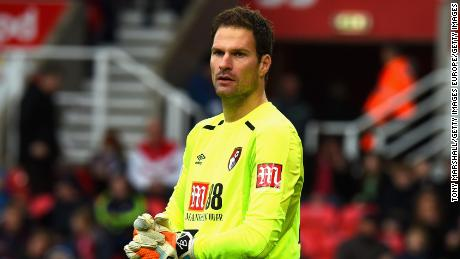 STOKE ON TRENT, ENGLAND - OCTOBER 21:  Asmir Begovic of AFC Bournemouth during the Premier League match between Stoke City and AFC Bournemouth at Bet365 Stadium on October 21, 2017 in Stoke on Trent, England.  (Photo by Tony Marshall/Getty Images)