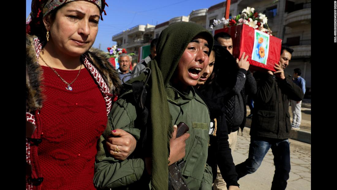 "Kurds in Afrin, Syria, attend a funeral Monday, January 29, for people killed in recent battles near the Turkish border. <a href=""https://www.cnn.com/2018/02/01/middleeast/syria-kurds-assault-civilians-intl/index.html"" target=""_blank"">Afrin has borne the brunt of Turkish attacks</a> since January 20, when Ankara launched Operation Olive Branch to remove militants from the area along its border. The military operations have predominately targeted Kurdish fighters of the People's Protection Units, or YPG. The militia, which has been critical to the US-backed Syrian Democratic Forces in the fight against ISIS, is viewed by Ankara as a terrorist organization."