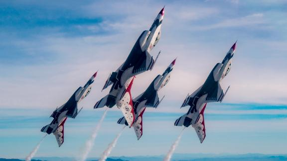 The Thunderbirds Diamond formation pilots transition during Line Break Loop maneuver over the Nevada Test and Training Range during a training flight, Jan. 29, 2018. The Diamond formation exhibits the precision and skill to fly in close formation. (U.S. Air Force Photo by Tech. Sgt. Christopher Boitz)