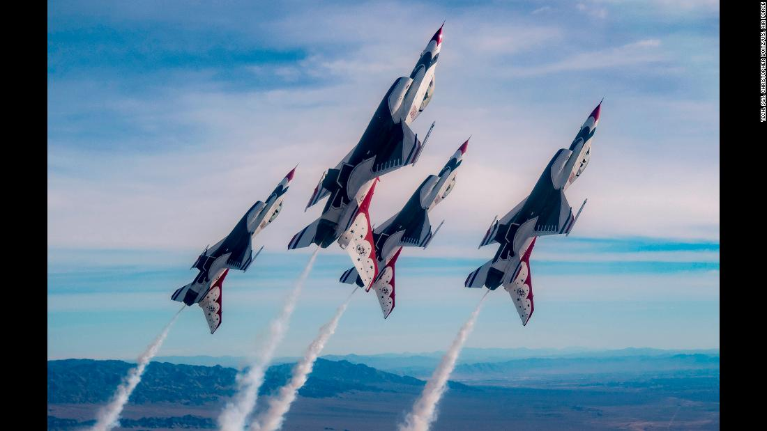 Air Force Thunderbird jets soar high during a training flight over the Nevada Test and Training Range on Monday, January 29.