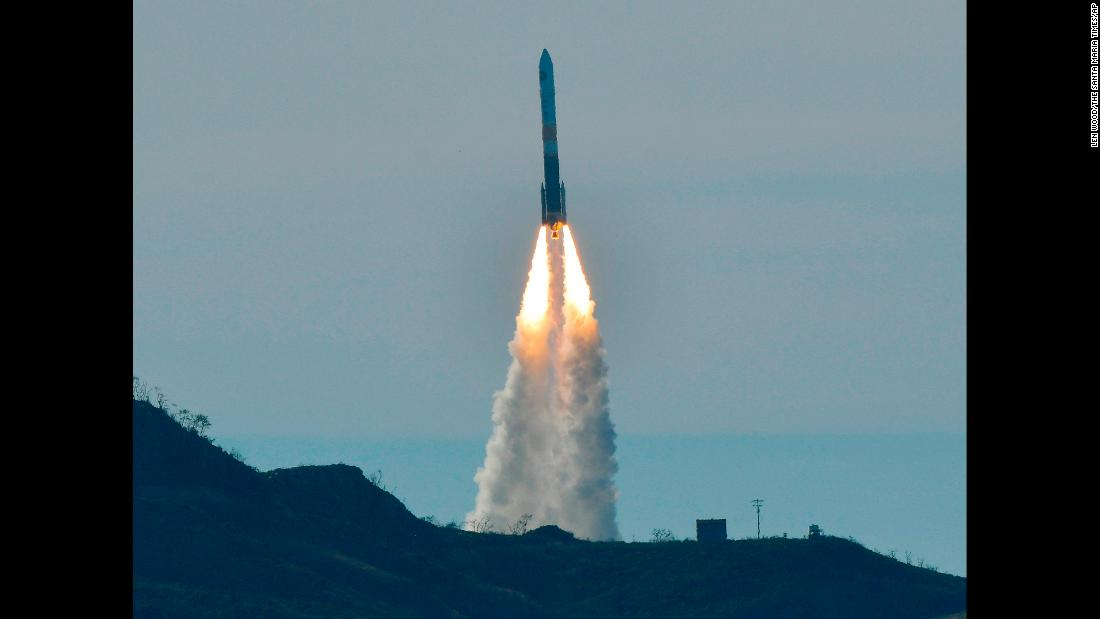 A Delta IV rocket lifts off from Space Launch Complex-6 at Vandenberg Air Force Base in Santa Barbara County, California, on Friday, January 12. The rocket was carrying a classified US satellite.