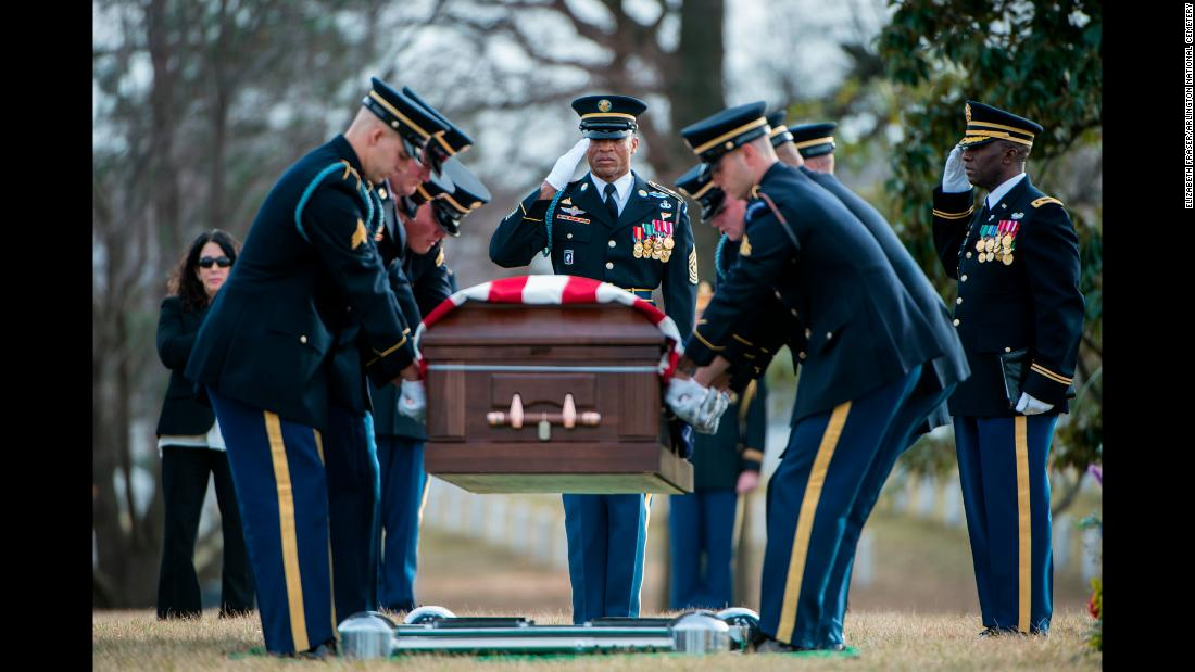 "<a href=""https://thefallen.militarytimes.com/army-sgt-1st-class-mihail-golin/6568730"" target=""_blank"">Army Sgt. 1st Class Mihail Golin</a> is laid to rest in Section 60 of Arlington National Cemetery during a funeral in Arlington, Virginia, on Monday, January 22. Golin, 34, died on January 1, 2018, as a result of wounds sustained during combat operations in Nangarhar Province, Afghanistan."
