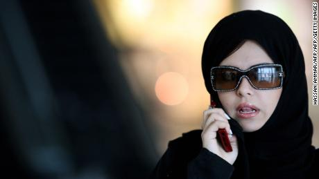 A woman speaks on her phone at a shopping mall in the Saudi capital of Riyadh on March 16, 2008. AFP PHOTO/HASSAN AMMAR (Photo credit should read HASSAN AMMAR/AFP/Getty Images)