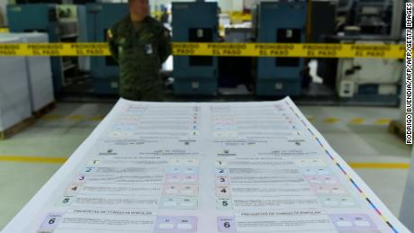 A soldier stands guard as electoral material for the referendum to put an end to an amendment permitting indefinite re-election in Ecuador is printed at the Military Geographic Institute in Quito on January 8, 2018. Ecuador will hold on February 4 a referendum announced by President Lenin Moreno to put an end to the amendment permitting indefinite re-election - a move aimed against former president Rafael Correa, his ex-ally and now chief rival. Ex-president Rafael Correa returned to Ecuador from Belgium to lead the campaign against the referendum in the deeply divided leftist ruling Country Alliance party. / AFP PHOTO / Rodrigo BUENDIA        (Photo credit should read RODRIGO BUENDIA/AFP/Getty Images)
