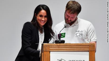 LONDON, UNITED KINGDOM - FEBRUARY 01:  Meghan Markle presents awards during the 'Endeavour Fund Awards' Ceremony at Goldsmiths Hall on February 1, 2018 in London, England. The awards celebrate the achievements of wounded, injured and sick servicemen and women who have taken part in remarkable sporting and adventure challenges over the last year.  (Photo by Ben Stansall - WPA Pool/Getty Images)