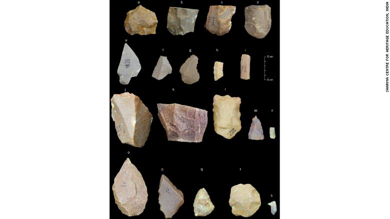 Some typical artefacts from Middle Palaeolithic cultural phases at Attirampakkam.