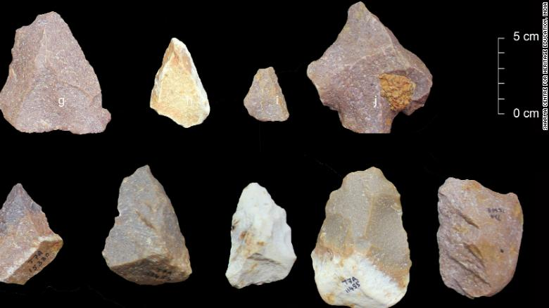 Middle Palaeolithic artefacts from excavations at Attirampakkam.