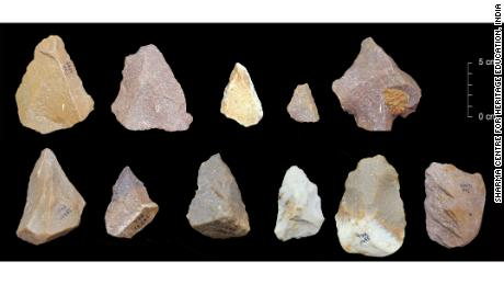 The Acheulian hand axe, a signature item of technology in hominins.