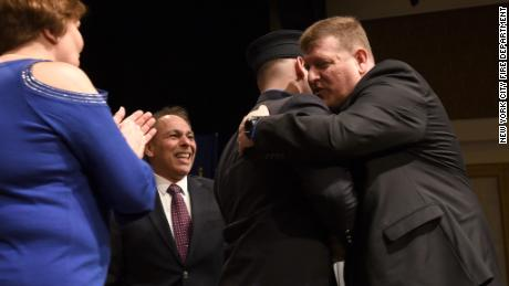 Twenty-two years later, Joseph Bitetto meets the man who saved his life, Howard Blanck, at his EMT graduation.