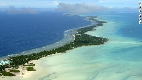 Aerial photo of the Tarawa atoll in Kiribati on March 30, 2014. (AP Photo/Richard Vogel, File)
