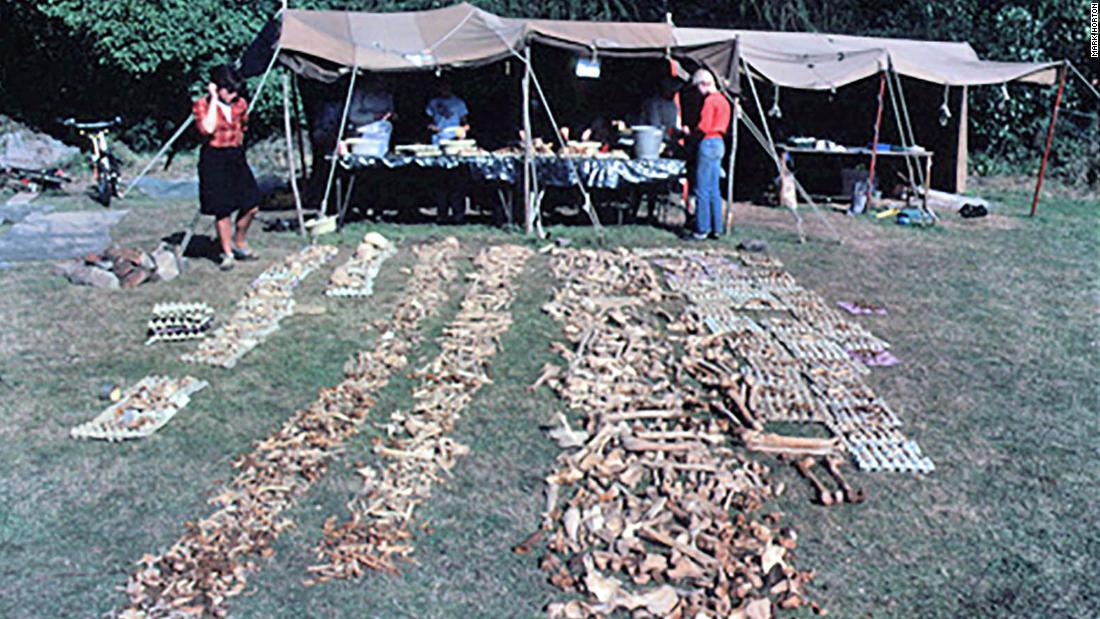 The Repton site in Derbyshire was first excavated in the 1980s. This photo, from that excavation, shows bones uncovered in the charnel by Martin Biddle and Birthe Kjolbye-Biddle.