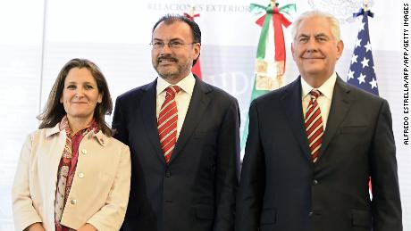 Canadian Foreign Minister Chrystia Freeland, Mexican Foreign Minister Luis Videgaray and US Secretary of State Rex Tillerson pose for photographers after a press conference in Mexico City on February 2, 2018.  US Secretary of State Rex Tillerson is on an official two-day visit to Mexico as part of a tour of Latin America countries. / AFP PHOTO / ALFREDO ESTRELLA        (Photo credit should read ALFREDO ESTRELLA/AFP/Getty Images)