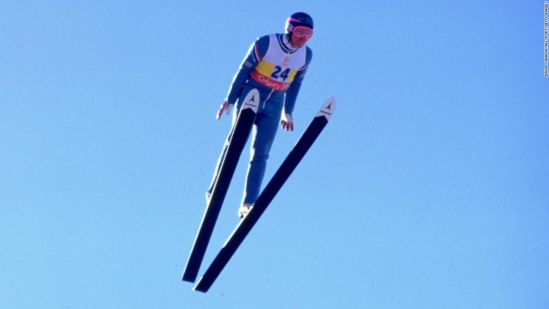 Eddie Edwards of Great Britain in action during the 90 metres Ski Jump event at the 1988 Winter Olympic Games in Calgary, Canada.