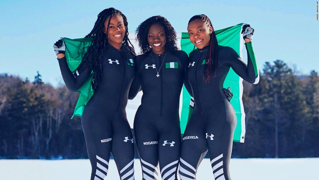 In this undated photo provided by Under Armor, from left, Nigerian boblsedders Akuoma Omeoga, Seun Adigun and Ngozi Onwumere pose for a photo. The American-born former track athletes will field the first bobsled team from the entire continent of Africa in Pyeongchang.