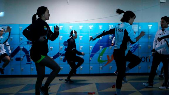 North and South Korean women's ice hockey players (pictured warming up before the match) last played against each other in April 2017.