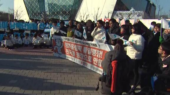 South Koreans protest at the Olympics.