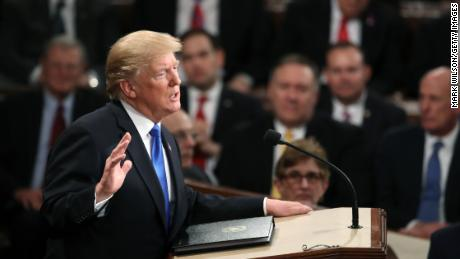 U.S. President Donald J. Trump delivers the State of the Union address in the chamber of the U.S. House of Representatives January 30, 2018 in Washington, DC. This is the first State of the Union address given by U.S. President Donald Trump and his second joint-session address to Congress.