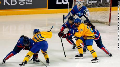 Joint Korean ice hockey team plays first game