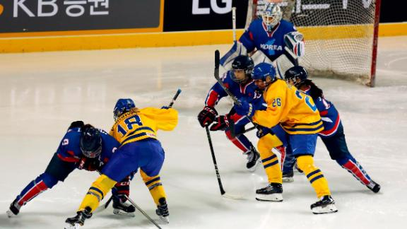 The athletes of Team Korea in action during the Women's Ice Hockey friendly match against Sweden at Seonhak International Ice Rink on February 4, 2018, in Incheon, South Korea.