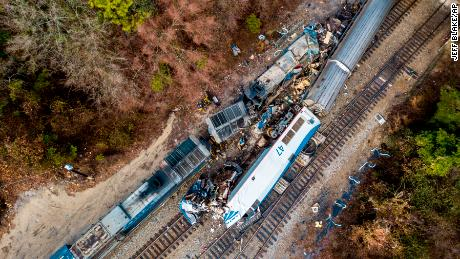 An aerial view of the site of the crash site near Cayce, South Carolina.