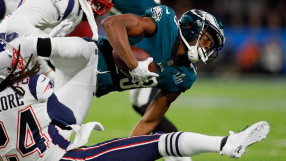 Philadelphia's Nelson Agholor is tackled on the first drive. The Eagles scored a field goal.