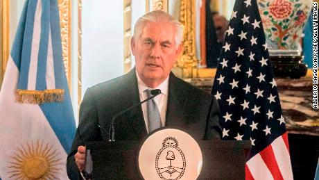 United States's Secretary of State Rex Tillerson (L) speaks next to Argentina's Foreign Minister Jorge Faurie (R) at a press conference at San Martin Palace, State Department headquarters, in Buenos Aires, on February 4, 2018.   On the fourth day of a five-nation tour of Latin America and Jamaica, US Secretary of State Rex Tillerson is on his first tour to the continent as he soughts to better define US strategy in its own hemisphere.  / AFP PHOTO / ALBERTO RAGGIO        (Photo credit should read ALBERTO RAGGIO/AFP/Getty Images)