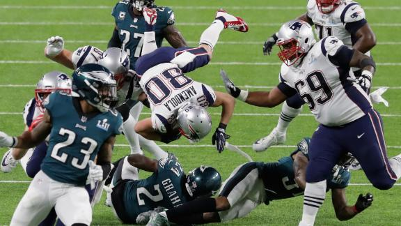 New England wide receiver Danny Amendola is tackled during the second quarter.