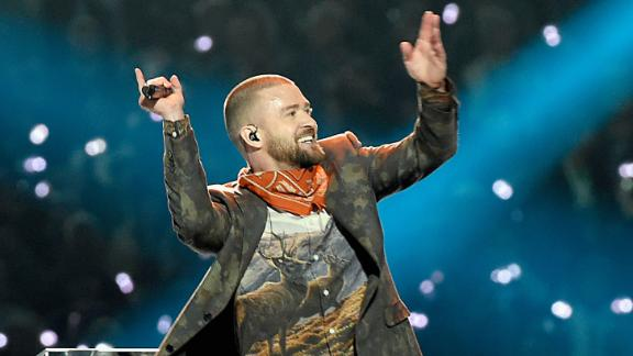 Justin Timberlake performs during the Super Bowl halftime show on Sunday, February 4.