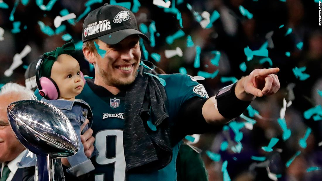 Philadelphia Eagles quarterback Nick Foles holds his daughter, Lily, after the Eagles won the Super Bowl on Sunday, February 4. Foles was named the most valuable player of the game, which the Eagles won 41-33 over the New England Patriots. It is the franchise's first Super Bowl victory.